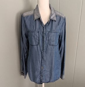 Michael Stars Wmn's Lg Two-tone Chambray Denim Top